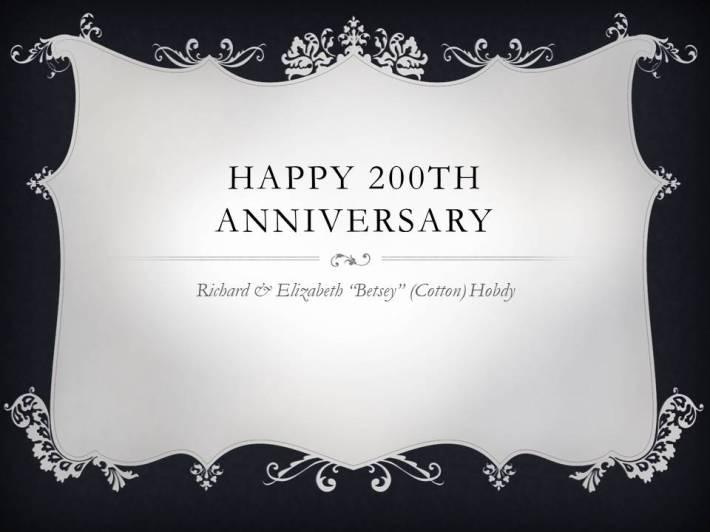 Happy 200th Anniversary Richard and Betsy